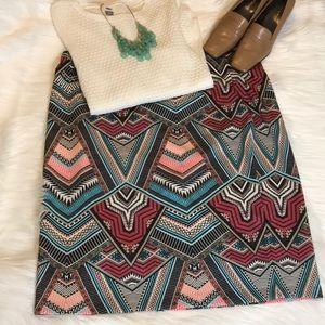 Bisou Bisou Woman geometrical print midi skirt 3X